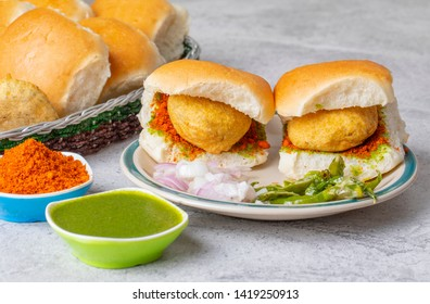 Indian Famous Street Food Vada Pav Also Know as Vada Paav, Wada Pav or Wada Pao is a Vegetarian Fast Food Dish From Maharashtra