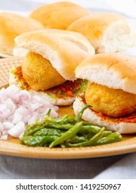 Indian Famous Street Food Vada Pav Also Know as Vada Paav, Wada Pav or Wada Pao is a Vegetarian Fast Food Dish From Maharashtra