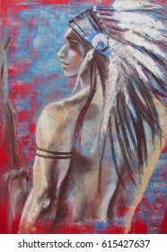 The Indian, fantasy artistic portrait of north-american young man, in traditional head dress made of feathers. Original art, pastels on paper
