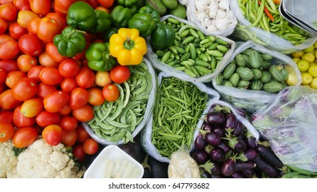 Indian farm fresh vegetables in a stock kept in a group