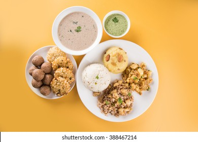 Indian Fasting Recipes or Upwas Food, for Navratri , Maha Shivratri / Ekadasi / Chaturthi or Gauri vrat. Served in ceramic crockery over colourful or wooden background. Selective focus