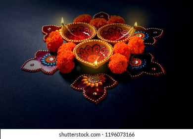 Indian Festival Diwali , Diwali lamp and flower rangoli