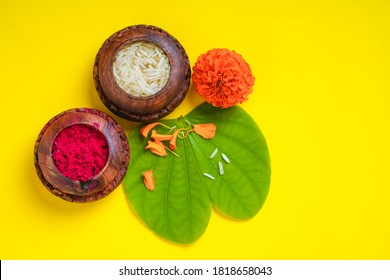 Indian festival dussehra , green apta leaf ,rice and flower