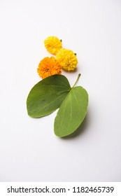 Indian Festival Greeting Card - Happy Dussehra, showing golden leaf and flowers on moody background. .
