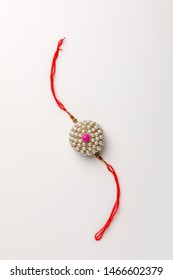 Indian festival Raksha Bandhan , Decorative Rakhi on white background