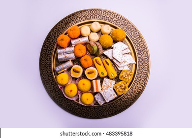 Indian festival Sweet Food or mithai on White Background