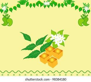 Indian festival Yugadi design with fresh leaves and mangoes