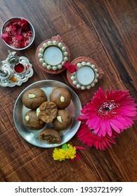 indian festive sweet dish besan laddoo with jaggary