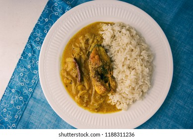 Indian Fish curry with mustard sauce & Rice