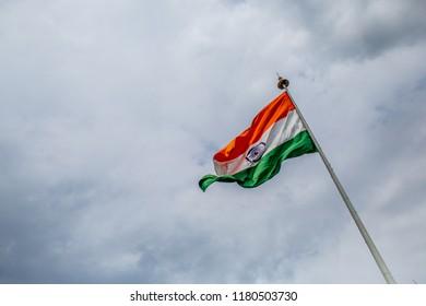 Indian flag against blue skies