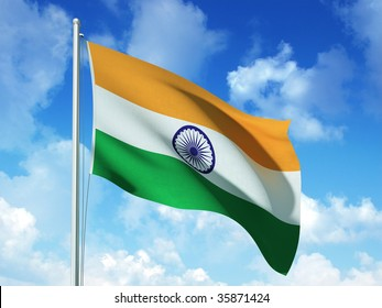 indian flag in blue sky background - 3d rendered image