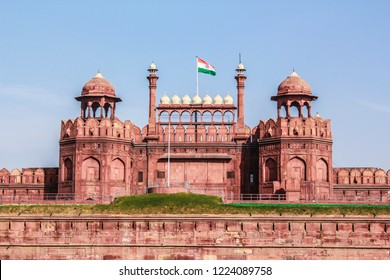 The Indian Flag Flies on top of Lahori Gate at Delhi Red Fort in New Delhi, India