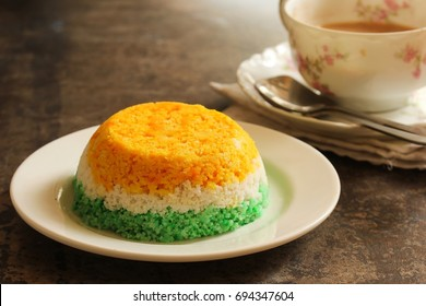 Indian flag food - Tricolor Steamed rice cake or Puttu,   selective focus