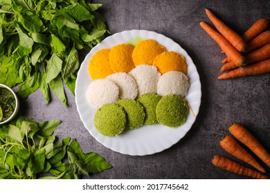 Indian  flag food,indian tri color food recipe,coloured idly
