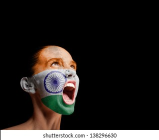 The Indian flag on the face of a screaming woman. concept