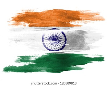 The Indian flag painted on  white paper with watercolor