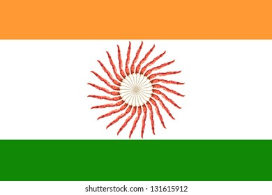 Indian Flag, symbol in the centre was created by red hot chilli peppers