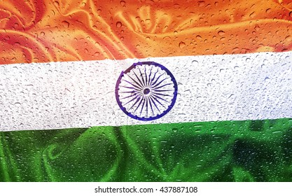 Indian flag with watter drops, rainy weather, India
