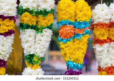 Indian flower garlands for sales during diwali festival
