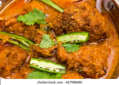 Indian food called Malai Kofta  - stuffed balls filled with either vegetable or chicken or meat, deep fried and cooked in curry