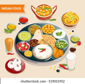Indian food composition of dishes with seafood beans verdure and sauces also beverages and sweets  illustration