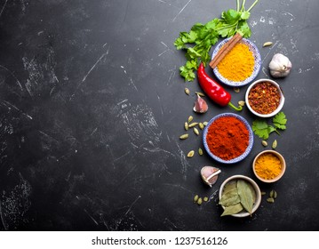 Indian food cooking background. Traditional Indian spices and ingredients. Curry, turmeric, cardamom, garlic, pepper, fresh cilantro, cinnamon. Preparing exotic meal. Top view, space for text