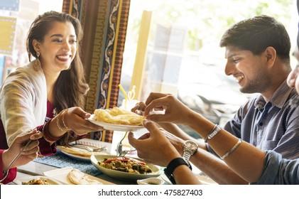 Indian Food Eating Cuisine Togetherness Concept