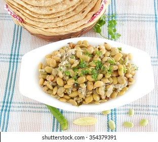 Indian food flat beans curry, a vegetarian side dish for items like chapati or Indian flat bread.