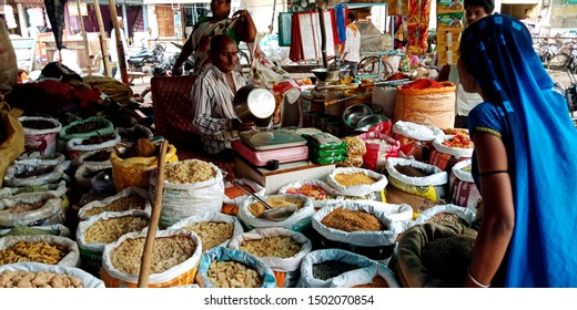 indian food ingredients store at district Katni Madhya Pradesh in India shot captured on sep 2019