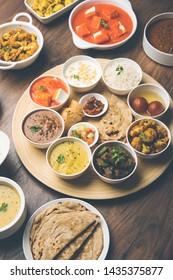 Indian food platter / Hindu Veg Thali, selective focus