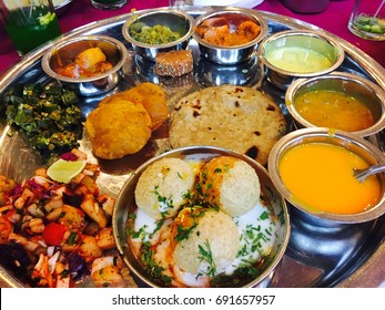 Indian Food Platter, Indian Thali, Indian Veg Thali, Paratha, Aalu Bhaji, Puri or Poori, Complete Meal, Marvadi Indian Thali