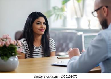 Indian girl attending job interview
