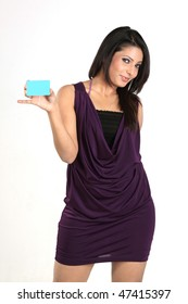 Indian girl with blue blank credit card