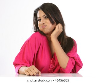 Indian girl doing oil pulling