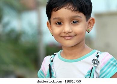 Indian Girl Looking at Camera