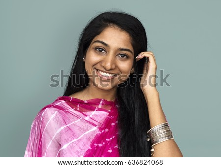 indian girl smiling casual studio portrait stock photo edit now