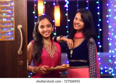Indian Girls with pooja Thali, Indian Festival