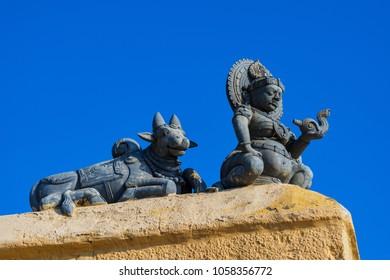 Indian god top of the temple at kanyakumari temple, Tamil Nadu, India.