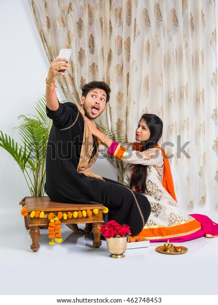 Indian Good Looking Young Brother Sister Stock Photo (Edit
