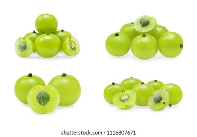 Indian gooseberry or Amla (Phyllanthus emblica) isolated on white
