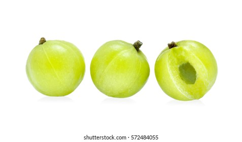 Indian gooseberry or Amla (Phyllanthus emblica) isolated on white background