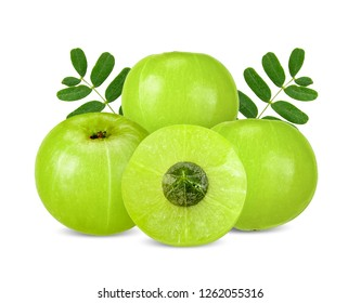 Indian gooseberry isolated on white clipping path
