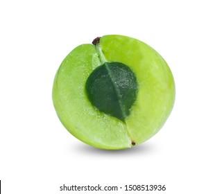 Indian gooseberry Phyllanthus emblica  amla  fruits  green isolated  white background