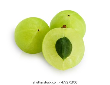 Indian gooseberry ,Phyllanthus emblica , amla green fruits isolated on white background. This has clipping path.