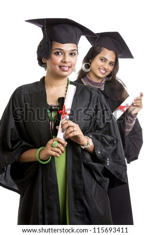 b8b1442df2e Indian Graduation Young Womans On White Stock Photo (Edit Now ...