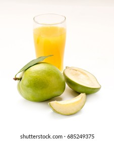 Indian Green mango with raw mango juice called AAM PANNA isolated on a white background