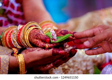 Indian Groom and bride holding hand wedding ritual ceremony,indian wedding