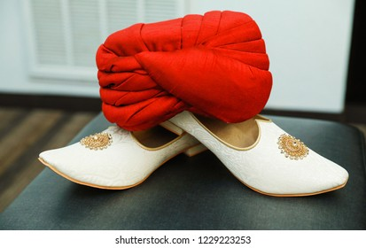 Indian grooms wedding Turban and Khussa shoes