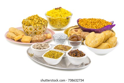 Indian Group of  Diwali and Holi Celebration Food Namkeen, Chivda, Chiwada, Karanji, Namkin, Nimco, Mixture Namkeen, Masala Chana, Gujiya, Chana Chor Garam, Cookies, Biscuits or Mouth Freshner