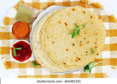 indian gujrati snack khakhra or crispy roti or crispy chapati bread